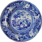 Staffordshire Transferware small blue 6 1/2 inch plate- 'The Gleaners' c. 1822- Henshall and Williamson