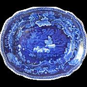 Staffordshire Transferware Dark Blue Platter c.1825  Adams