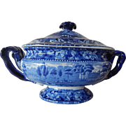 Staffordshire Transferware dark blue Gravy Tureen c.1825  Andrew Stevenson  Rose Border