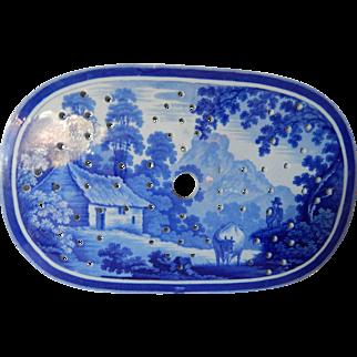 Staffordshire Transferware Dark blue Rural Scene Drainer- 'Cowman' Pattern- Circa 1820