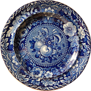 Historical Staffordshire Transferware Dark Blue Dinner Plate- 'Fruit and Flowers'  Stubbs and Kent- -c.1823