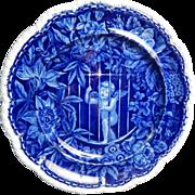 Historical Staffordshire Transferware Dark Blue  Dinner Plate- 'Cupid Behind Bars- Wood- Circa 1826