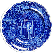 Historical Staffordshire Transferware Dark Blue  Dinner Plate- 'Cupid Behind Bars- Wood- Circa 1826