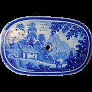 Historical Staffordshire Transferware Dark Blue Drainer- 'The Cowman'- c.1825- ex condition-