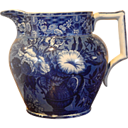 Historical Dark Blue Staffordshire Transferware Pitcher- Riley- Circa 1824-