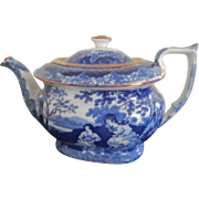 Charming Staffordshire Transferware Blue and White Tea Pot- circa 1830-