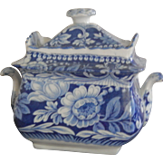Lovely Staffordshire Transferware Sugar Bowl-Blue and White- Floral- Great Condition