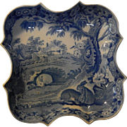 "Historical Staffordshire Transferware  ""GRAZING RABBITS""  shaped dish- everyone asks- here it is!"