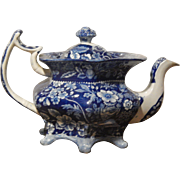 Historical Dark Blue Staffordshire Transferware- Very Rare six footed Floral Teapot
