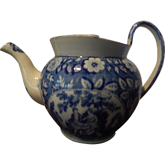 Historical Staffordshire  Diminutive Teapot- Medium Blue- Possibly Mailing- early 1800s- 'Tea Party'