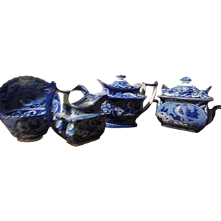 "Antique Staffordshire Transferware Dark Blue Tea Set  ""Bird on Nest""  c. 1825"