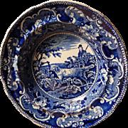 "Staffordshire Transferware-Soup Plate-Enoch Wood-Sporting Series- 'Setter-10 3/8""-c.1834-"