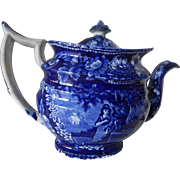 Huge Staffordshire Transferware Dark Blue Teapot- circa 1830