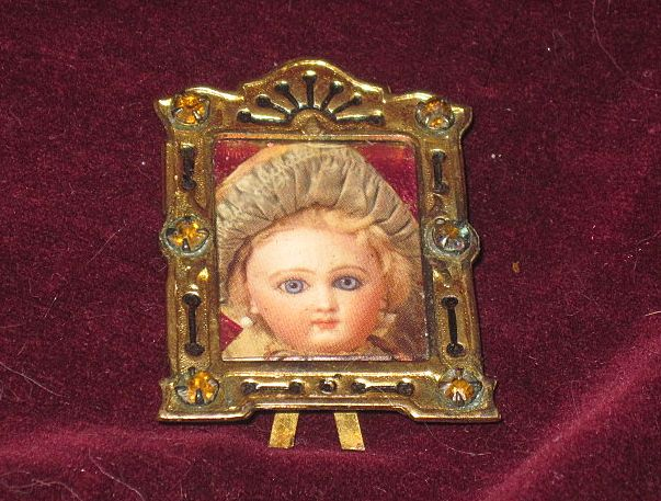 SALE! Tiny Exquisite Old Miniature Jeweled Brass Frame for French Fashion Dolls!