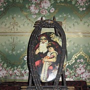 RARE Victorian Tin Lithograph Oval Santa Plaque with Easel Frame!