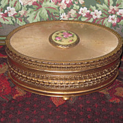 Sale~EXQUISITE Fancy Vintage Oval Trinket Box with Enamel Medallion! - Red Tag Sale Item