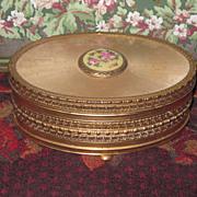 Sale~EXQUISITE Fancy Vintage Oval Trinket Box with Enamel Medallion! - Red Tag Sale Item