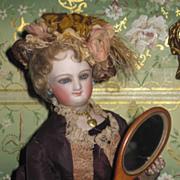 SALE! Original Old Miniature Shaker Birch Hand Mirror for Fashion Dolls!