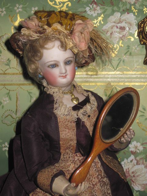 SALE! Original Old Miniature Shaker Birch Hand Mirror for Fashion Dolls!