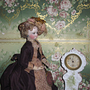 SUPERB Miniature Victorian Porcelain German Grandmother Clock!