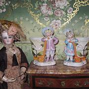 SALE! Superb Pair of Miniature Victorian Porcelain Boy and Girl Figural Match Safes!