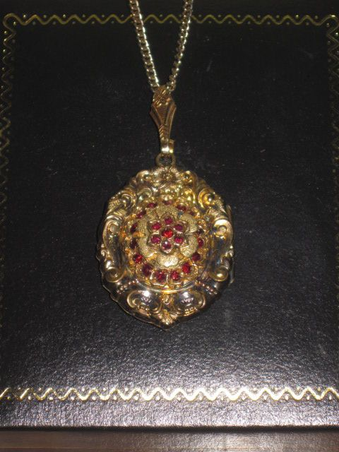 SALE! Fancy Antique Victorian Lady's Garnet Glass Locket Pendant!