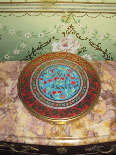 FABULOUS Large Vintage Colorful Enameled Volupte Compact!