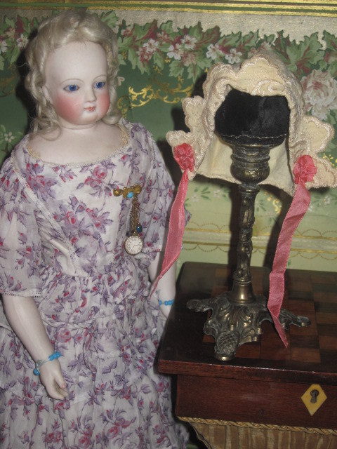 FABULOUS Victorian Fancy Ecru Embroidered Doll Bonnet!
