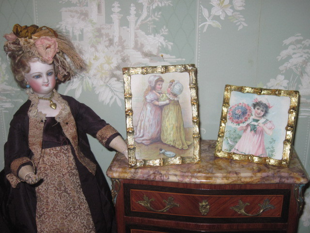 SWEET Pair of Vintage Brass Frames with Victorian Children Postcards!