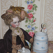 RARE Miniature Victorian German Figural Bisque Condiment Jar!