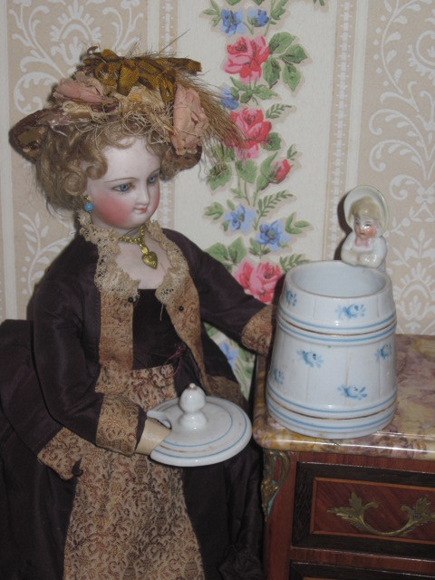 RARE Miniature Victorian German Figural Bisque Condiment Jar!