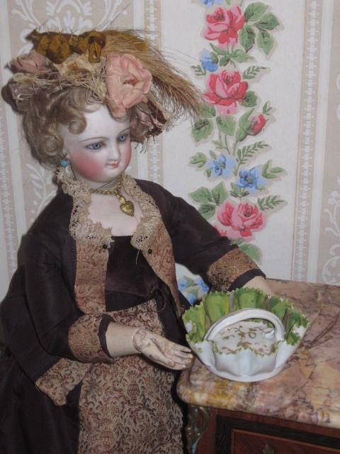 EXQUISITE Rare Fancy Hand Painted Miniature Porcelain Handled Basket