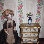 SUPERB Miniature Florentine Vintage Wooden Musical Doll Chest
