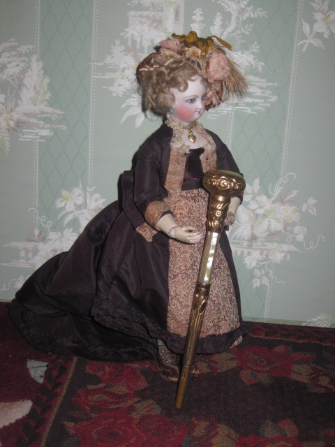 GORGEOUS Ornate Victorian M-O-P and Brass Umbrella/Parasol Handle