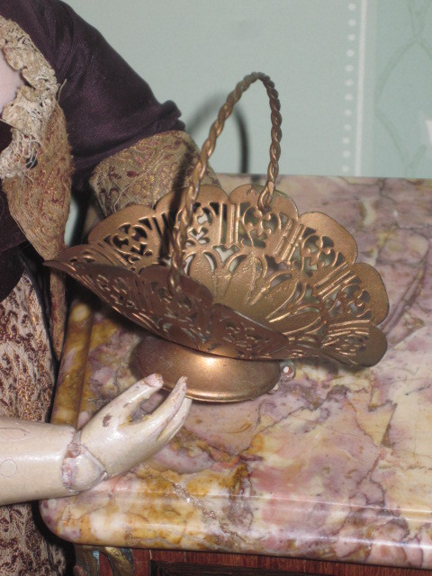 FANCY Rare Victorian Miniature Brass Ormolu Handled Basket for Fashion Dolls