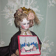 CHARMING Vintage Miniature Dollhouse Needlepoint Rug/Tapestry