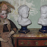 CHARMING Pair of Miniature German Porcelain Figural Children Busts