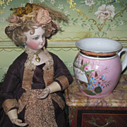 EXQUISITE Victorian Hand Painted Porcelain Mug/Toilette Jar