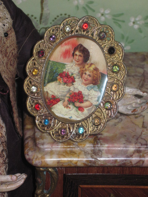 MAGNIFICENT Rare Victorian Miniature Jeweled Oval Frame for Fashion Dolls