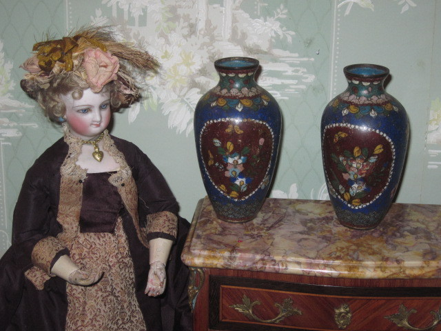 SALE! Lovely Rare Pair of Old Miniature Oriental Cloisonne Enamel Vases/Urns