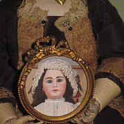 TINY French Victorian Miniature Round Ormolu Brass Frame with Doll Photograph