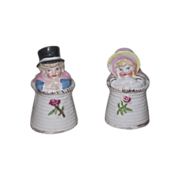 SALE! Charming Rare Pair of Miniature Victorian Porcelain Kate Greenaway Salt and Pepper Shakers!