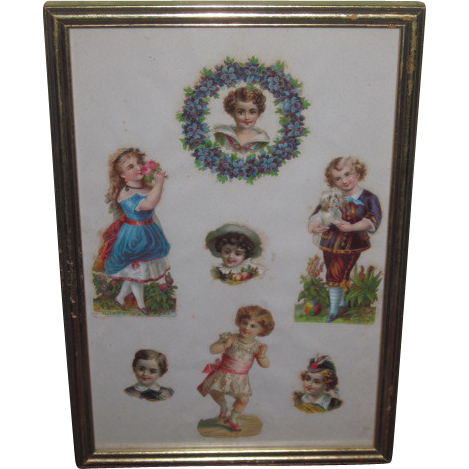 SALE! Framed Collection of German Victorian Embossed German Die Cuts of Children!