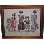 SALE! Framed Victorian Tinted Lithograph Fashion Print w/Children and SHEEP PULL-TOY!