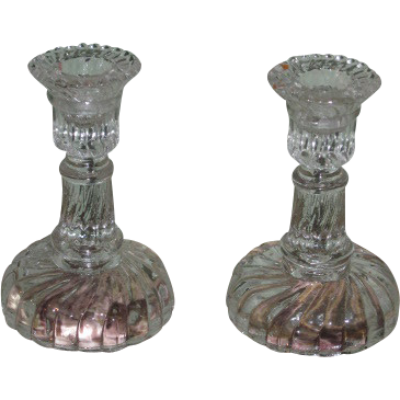 SALE! Rare Pair of Vintage Miniature Swirl Glass Toy/Doll Candlesticks!