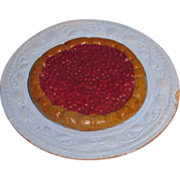 CHARMING Circa 1900 Miniature German Dollhouse Composition Gooseberry Tart on Fancy Plate!