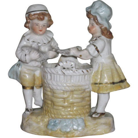 CHARMING Miniature Victorian German Porcelain Children Figural Match Safe!