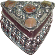 TINY Ornate Vintage Miniature Stone Inlaid Silver Trinket Box for Fashion Dolls!