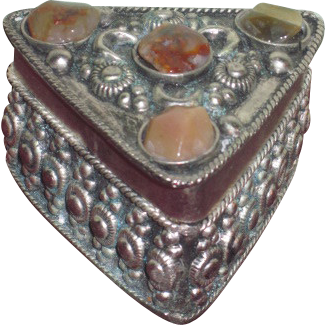 TINY Ornate Vintage Miniature Stone Inlaid Silver Trinket Box for Fashion Dolls!