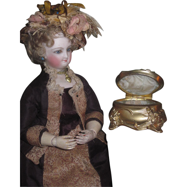 EXQUISITE Tiny Miniature Victorian Gilded Metal Footed Trinket Box for Fashion Dolls!